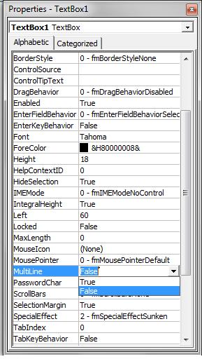 Multiline TextBoxes
