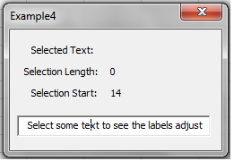 VBA, GUI, Displaying the current index of the cursor