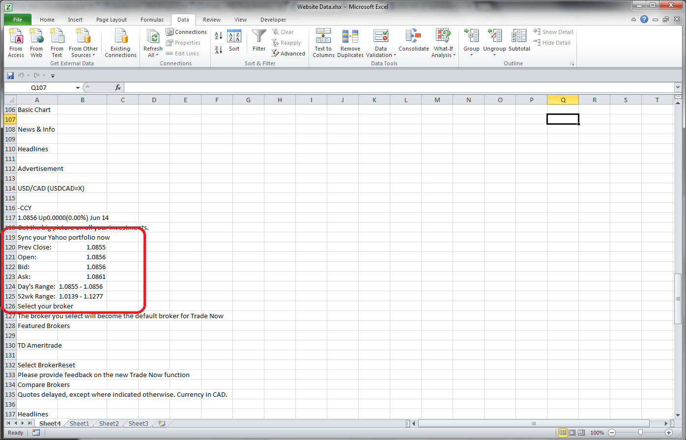 Excel VBA, Retrieving Data From a Website Using a Query