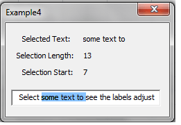 VBA, GUI, Selected text details being show (selected text, selection length and selection start)