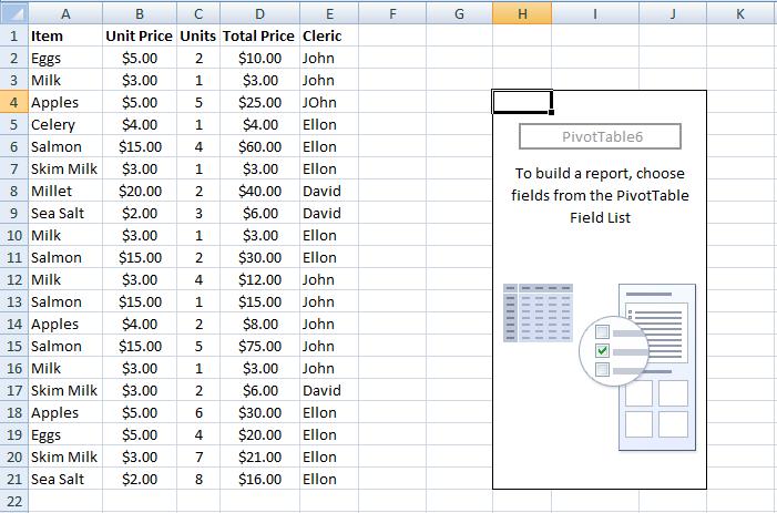 Blank PivotTable Excel