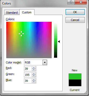 Excel, Custom Colors