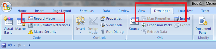 Excel, Developer Ribbon