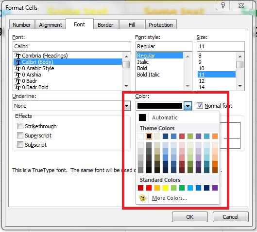 Excel, Font Color Pallete