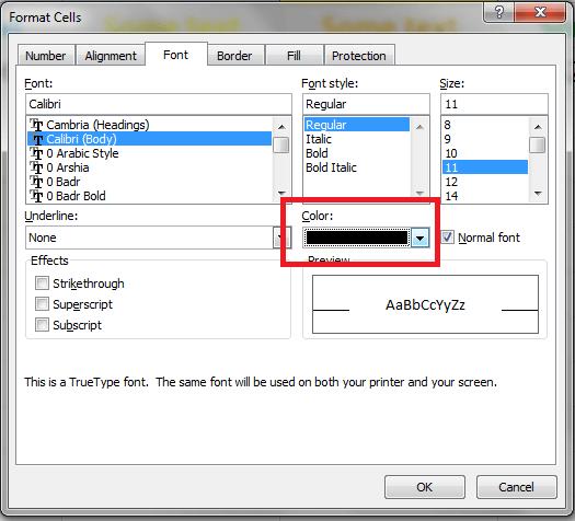 Excel, Font Color