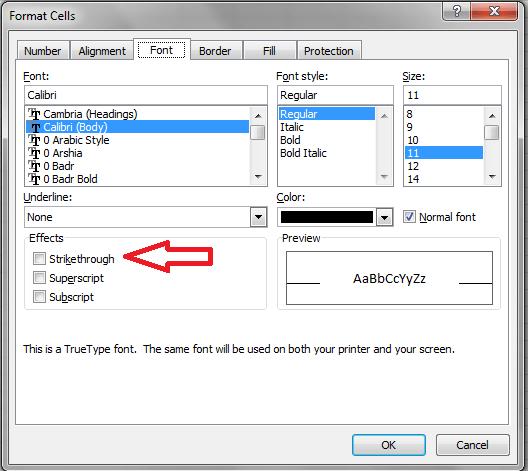 Excel, Font Strikethrough