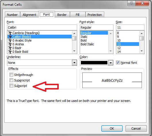 Excel, Font Subscript