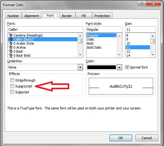 Excel, Font Superscript
