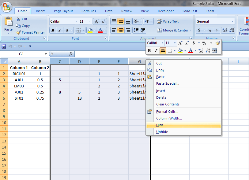 Excel Formulas and Functions Hide Columns