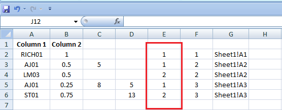 Excel, Formulas and Functions, Sheet 2, Column E
