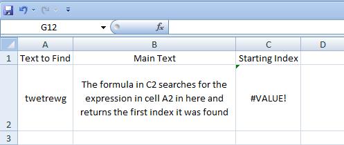 Excel, Formulas, Find, Result not found