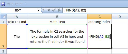 Excel, Formulas, Find