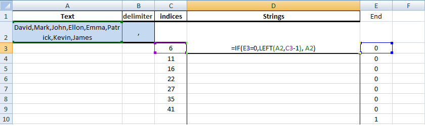 Excel, Formulas, Sample1, Step3, Get First String Formula