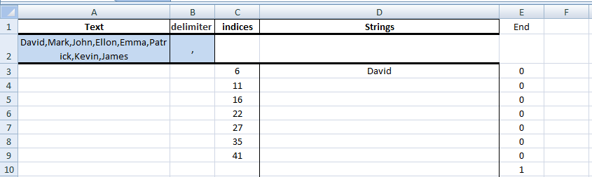 Excel, Formulas, Sample1, Step3, Get First String