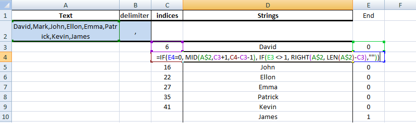 Excel, Formulas, Sample1, Step4, Get Next String