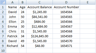Excel, Index, Database Example 3