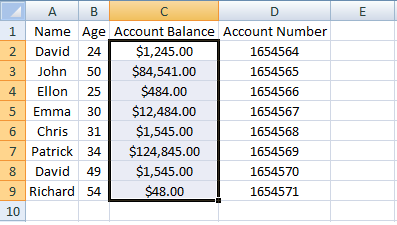 Excel, INDEX, Example 3 Sheet 2 Account Balance Range