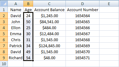 Excel, INDEX, Example 3 Sheet 2 Age Range