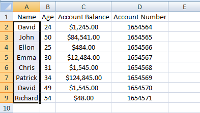 Excel, INDEX, Example 3 Sheet 2 Name Range
