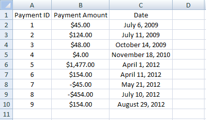 Excel, INDEX, Example 4, Payments