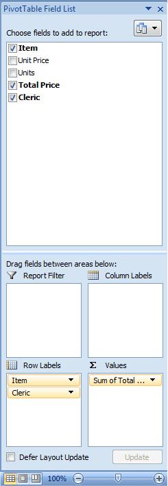 Excel, Pivot Table, Fields Lists