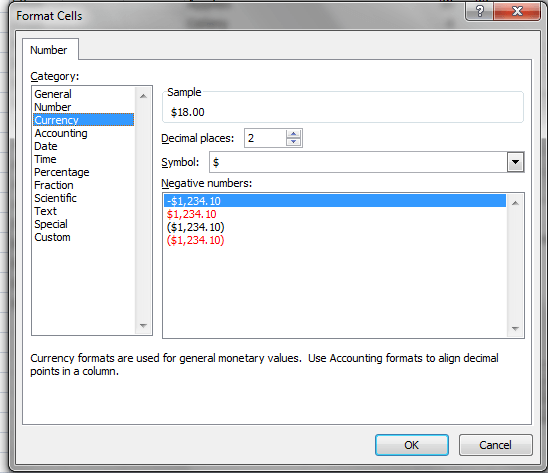 Excel, Pivot Table, Number Format Dialog, Value Field Settings