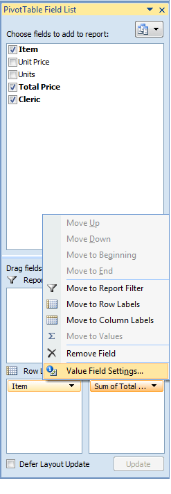 Excel, PivotTable, Example2, Value Field Settings