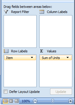 Excel, PivotTable, PivotTable, Column Labels, Report Filter, Row Labels and Values