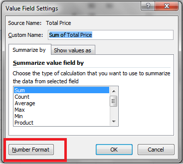 Excel, PivotTable, Value Field Settings Dialog Example 2