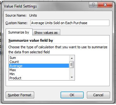Excel, PivotTable, Value Field Settings, Example