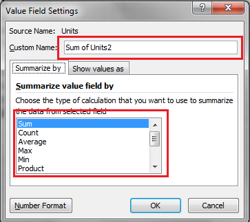 Excel, PivotTable, Value Field Settings