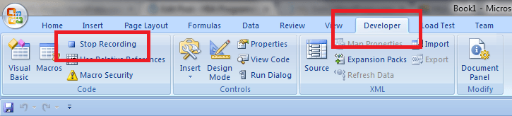 Excel, Stop the Macro Recorder