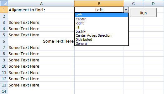 Excel VBA, Horizontal Alignment, Drop Down list