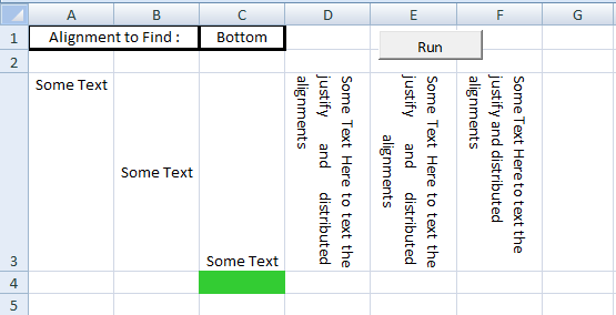 Excel VBA, Set Vertical Alignment, Bottom Alignment
