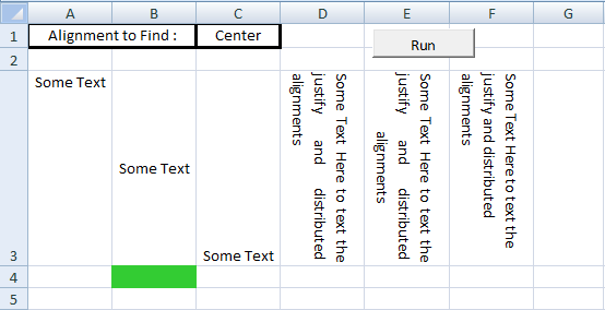 Excel VBA, Set Vertical Alignment, Center Alignment