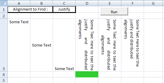 Excel VBA, Set Vertical Alignment, Justify Alignment