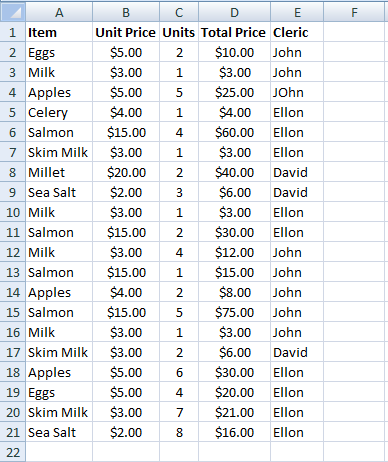 Excel, Grocery List