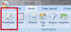 Insert PivotTable Excel