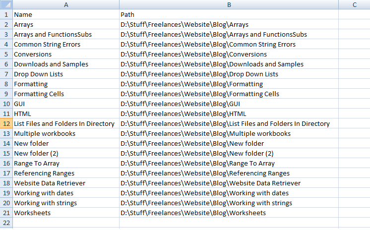 List of Folder Names and Paths Excel VBA