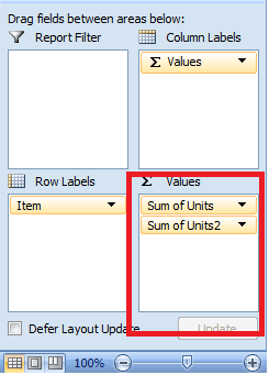 PivotTable Excel, Value Area