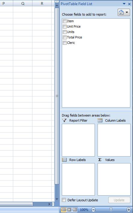 PivotTable Field List Excel