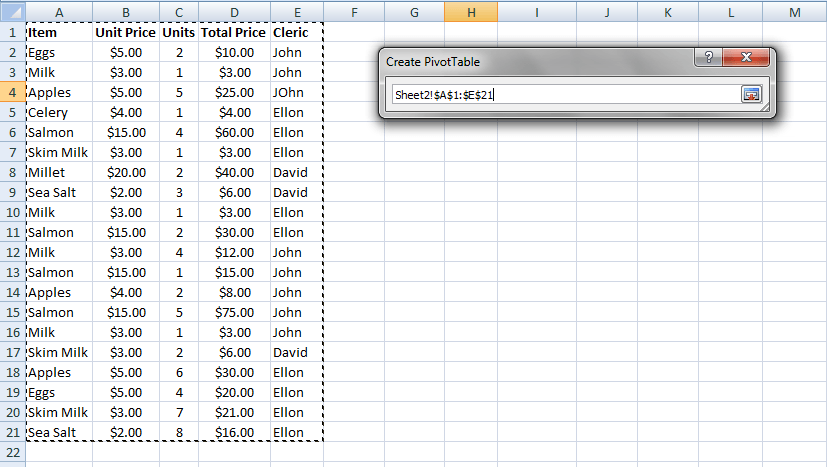 PivotTable Source Data Excel