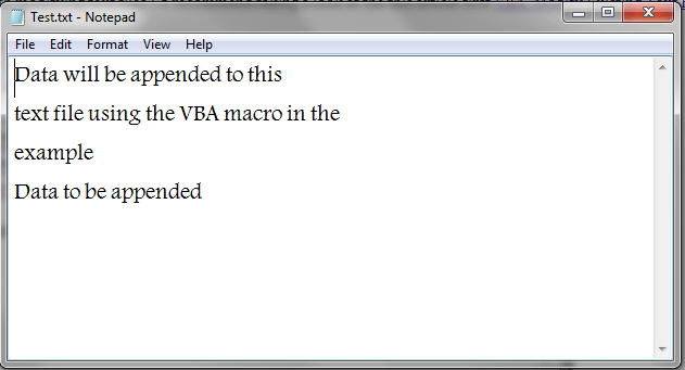 VBA, Append Data to Text File, Result