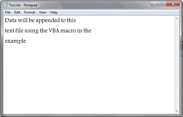 VBA, Append Data to Text File