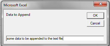 VBA Append Text, Input Dialog