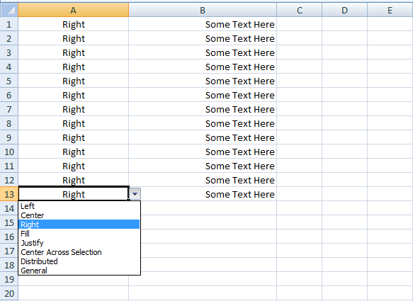 VBA Excel, Formatting, Set Horizontal Alignment