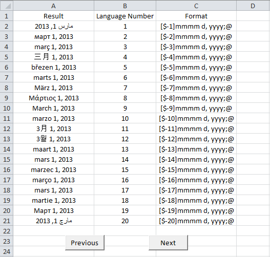 Excel, Date Language Finder
