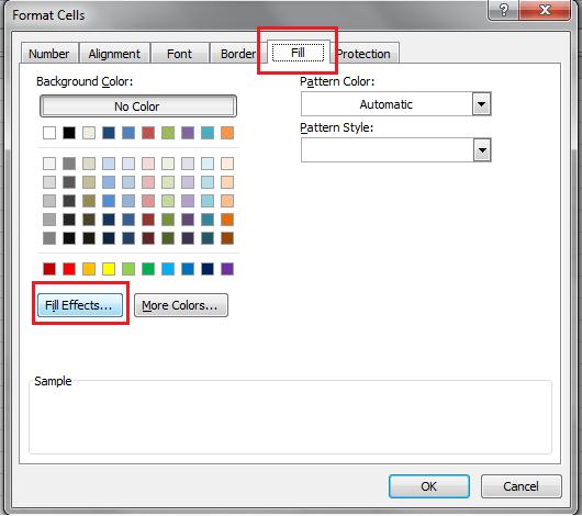 Excel Format Cell Dialog, Fill Tab