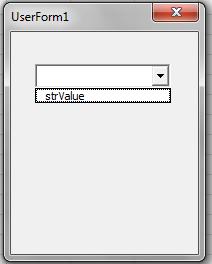 VBA, Add, Value Drop Down List, strValue