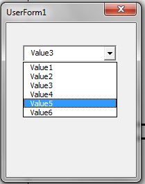 VBA, Drop Down List, Selected Value